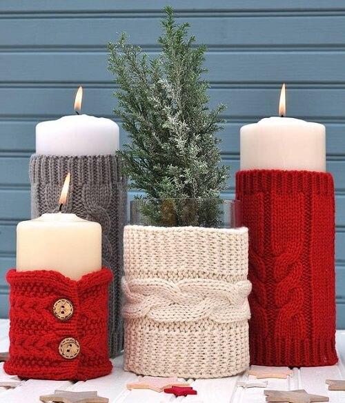 stol_bor_blagdanska_dekoracija_božić_diy_grane_svijeće_džemperi